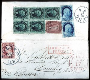 Sale Number 777, Lot Number 63, 1857-60 Issue5c Brick Red, 10c Green Ty. V (27, 35), 5c Brick Red, 10c Green Ty. V (27, 35)
