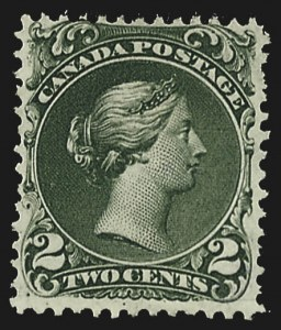 Sale Number 780, Lot Number 92, Canada1868, 2c Green, Thin Paper (24b, SG 48), 1868, 2c Green, Thin Paper (24b, SG 48)