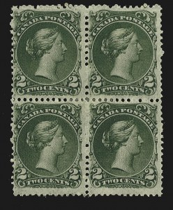 Sale Number 780, Lot Number 93, Canada1868, 2c Green, Thin Paper (24b, SG 48), 1868, 2c Green, Thin Paper (24b, SG 48)
