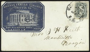 Sale Number 795, Lot Number 1295, College Covers10c Greenish Blue, Die B (12c), 10c Greenish Blue, Die B (12c)