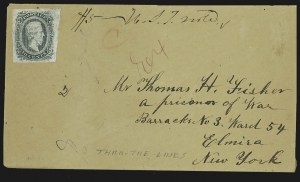 Sale Number 795, Lot Number 1455, Prisoner-of-War Mail from Federal PrisonsCamp Elmira, Camp Elmira