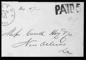 Sale Number 795, Lot Number 171, Handstamped Paid and Due MarkingsCanton Miss. Jun. 15, 1861, Canton Miss. Jun. 15, 1861