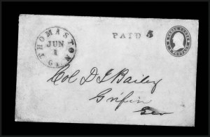 Sale Number 795, Lot Number 40, Key Dates of the ConfederacyThomaston Ga. Jun. 1 (1861) - First Day of the Confederate Postal System, Thomaston Ga. Jun. 1 (1861) - First Day of the Confederate Postal System