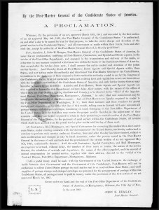 Sale Number 795, Lot Number 41, Key Dates of the ConfederacyProclamation Establishing the Confederate Postal System, June 1, 1861, Proclamation Establishing the Confederate Postal System, June 1, 1861