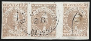 Sale Number 795, Lot Number 782, General Issues  Scott Nos. 1-510c Rose, Horizontal Strip of Three with Vertical Gutter Between Middle and Right Stamps (5 var), 10c Rose, Horizontal Strip of Three with Vertical Gutter Between Middle and Right Stamps (5 var)