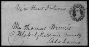 Sale Number 801, Lot Number 287, Independent and C.S.A. UsagesKey West Fla. Mar. 28, 1861, Key West Fla. Mar. 28, 1861
