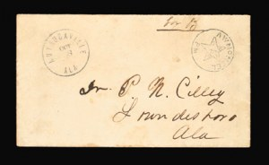 Sale Number 801, Lot Number 347, Postmasters ProvisionalsAutagaville Ala., 5c Black entire (10XU2), Autagaville Ala., 5c Black entire (10XU2)