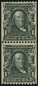 Sale Number 804, Lot Number 524, 1902-08 Issue, Including the Rare Coils1c Blue Green, Vertical Coil (316), 1c Blue Green, Vertical Coil (316)