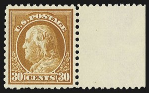 Sale Number 804, Lot Number 681, 1917-23 Washington-Franklins30c Orange Red, Perf 10 at Bottom (516a), 30c Orange Red, Perf 10 at Bottom (516a)