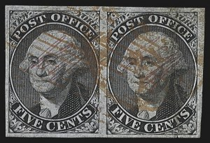 "Sale Number 813, Lot Number 504, Postmasters` ProvisionalNew York N.Y., 5c Black on Blue, ""ACM"" Initials (9X2), New York N.Y., 5c Black on Blue, ""ACM"" Initials (9X2)"
