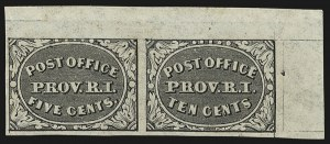 Sale Number 813, Lot Number 505, Postmasters` ProvisionalProvidence R.I., 5c & 10c Gray Black, Se-Tenant (10X1-10X2), Providence R.I., 5c & 10c Gray Black, Se-Tenant (10X1-10X2)