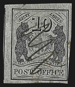 Sale Number 813, Lot Number 508, Postmasters` ProvisionalSt. Louis Mo., 10c Black on Gray Lilac (11X5), St. Louis Mo., 10c Black on Gray Lilac (11X5)