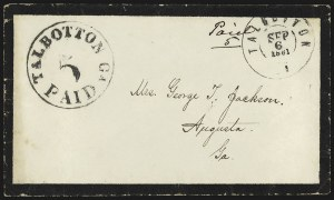 Sale Number 815, Lot Number 146, Talbotton, GeorgiaTalbotton Ga., 5c Black entire (94XU1), Talbotton Ga., 5c Black entire (94XU1)