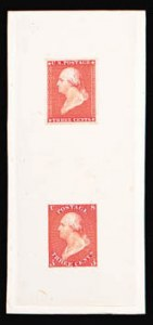 Sale Number 816, Lot Number 1048, 1851 Issue - Draper, Welsh & Co. EssaysDraper, Welsh & Co., 3c Die Essay on India, Vertical Pair (11-E7a), Draper, Welsh & Co., 3c Die Essay on India, Vertical Pair (11-E7a)