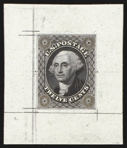 Sale Number 816, Lot Number 1095, 1851 Issue Proofs - 10c to 24c12c Black, Large Die Proof on India (17P1), 12c Black, Large Die Proof on India (17P1)