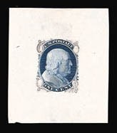 Sale Number 816, Lot Number 1123, 1c 1861-66 Issue Essays1c Blue, Die Essay on Old Proof Paper (63-E5), 1c Blue, Die Essay on Old Proof Paper (63-E5)