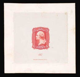 Sale Number 816, Lot Number 1157, 3c 1861-66 Issue Essays3c Scarlet, First Design, Die Essay on India (65-E15c), 3c Scarlet, First Design, Die Essay on India (65-E15c)