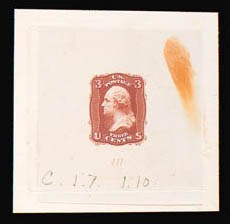 Sale Number 816, Lot Number 1158, 3c 1861-66 Issue Essays3c Dark Orange Red, First Design, Die Essay on India (65-E15c), 3c Dark Orange Red, First Design, Die Essay on India (65-E15c)