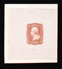 Sale Number 816, Lot Number 1161, 3c 1861-66 Issue Essays3c Orange Red, First Design, Die Essay on India (65-E15c), 3c Orange Red, First Design, Die Essay on India (65-E15c)