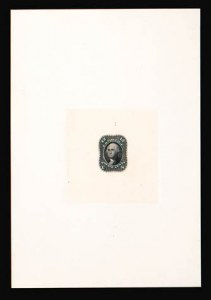 Sale Number 816, Lot Number 1186, 10c-12c 1861-66 Issue Essays12c Black, First Design, Hybrid Large Die Proof on India (69-E6a), 12c Black, First Design, Hybrid Large Die Proof on India (69-E6a)