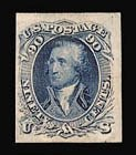 Sale Number 816, Lot Number 1219, 1861-66 Issue Stamps and Large Die Proofs - sets and 1c-3c90c Blue, Imperforate on Stamp Paper (72c), 90c Blue, Imperforate on Stamp Paper (72c)