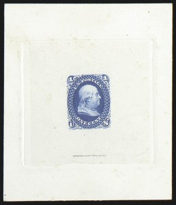 Sale Number 816, Lot Number 1223, 1861-66 Issue Stamps and Large Die Proofs - sets and 1c-3c1c Blue, Large Die Proof on India (63P1), 1c Blue, Large Die Proof on India (63P1)