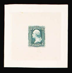 Sale Number 816, Lot Number 1228, 1861-66 Issue Stamps and Large Die Proofs - sets and 1c-3c3c Large Die Trial Color Proof on India (65TC1), 3c Large Die Trial Color Proof on India (65TC1)