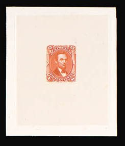 Sale Number 816, Lot Number 1241, 15c-24c 1861-66 Issue Large Die Proofs15c Orange Red, Large Die Trial Color Proof on India (77TC1), 15c Orange Red, Large Die Trial Color Proof on India (77TC1)
