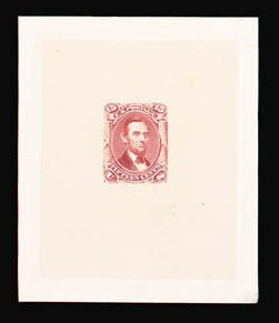 Sale Number 816, Lot Number 1242, 15c-24c 1861-66 Issue Large Die Proofs15c Dark Red, Large Die Trial Color Proof on India (77TC1), 15c Dark Red, Large Die Trial Color Proof on India (77TC1)