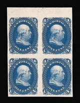Sale Number 816, Lot Number 1285, 1861-66 Issue Plate Proofs - sets and 1c-3c1c Blue, Plate Proof on India (63P3), 1c Blue, Plate Proof on India (63P3)