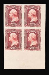 Sale Number 816, Lot Number 1290, 1861-66 Issue Plate Proofs - sets and 1c-3c3c Rose, Lake, Plate Proof on India (66P3), 3c Rose, Lake, Plate Proof on India (66P3)