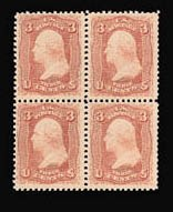 Sale Number 816, Lot Number 1294, 1861-66 Issue Plate Proofs - sets and 1c-3c3c Rose, Trial Color Plate Proof on Wove, Perforated (65TC6), 3c Rose, Trial Color Plate Proof on Wove, Perforated (65TC6)