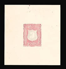 Sale Number 816, Lot Number 1357, 1867-68 Grilled Issues Essays (section a)3c Black, Deep Pink, Shield-Shaped Die Essay on Thick White Paper (79-E18a), 3c Black, Deep Pink, Shield-Shaped Die Essay on Thick White Paper (79-E18a)