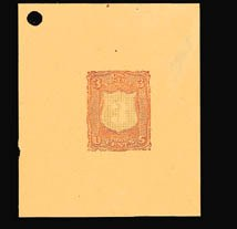 Sale Number 816, Lot Number 1360, 1867-68 Grilled Issues Essays (section a)3c Black, Carmine, Shield-Shaped Die Essay on Orange Wove (79-E18f), 3c Black, Carmine, Shield-Shaped Die Essay on Orange Wove (79-E18f)