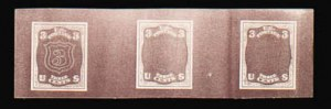 Sale Number 816, Lot Number 1365, 1867-68 Grilled Issues Essays (section a)3c Dark Red Brown, Shield Die Essay on Thin Card, Typographed (79-E19c var), 3c Dark Red Brown, Shield Die Essay on Thin Card, Typographed (79-E19c var)