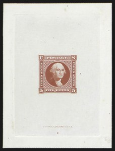 Sale Number 816, Lot Number 1419, 5c 1869 Pictorial Issue Essays5c Washington, Small Lettering, Large Die Essay on India (115-E2a), 5c Washington, Small Lettering, Large Die Essay on India (115-E2a)