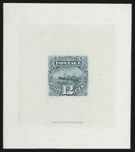 Sale Number 816, Lot Number 1532, 1869 Pictorial Issue Large Die Proofs (12c to 24c)12c Green, Large Die Proof on India (117P1), 12c Green, Large Die Proof on India (117P1)