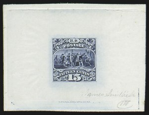 Sale Number 816, Lot Number 1535, 1869 Pictorial Issue Large Die Proofs (12c to 24c)15c Blue, Large Die Trial Color Proof on India (118TC1), 15c Blue, Large Die Trial Color Proof on India (118TC1)