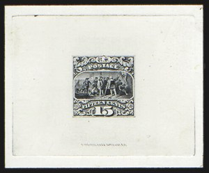 Sale Number 816, Lot Number 1536, 1869 Pictorial Issue Large Die Proofs (12c to 24c)15c Black, Large Die Trial Color Proof on India (118TC1), 15c Black, Large Die Trial Color Proof on India (118TC1)