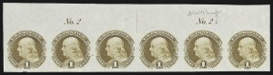 Sale Number 816, Lot Number 1556, 1869 Pictorial Issue Plate Proofs (Groups to 12c)1c Buff, Plate Proof on India (112P3), 1c Buff, Plate Proof on India (112P3)