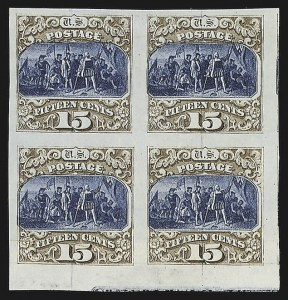 Sale Number 816, Lot Number 1566, 1869 Pictorial Issue Plate Proofs (15c to 24c)15c Brown & Blue, Ty. III, Plate Proof on India (129P3), 15c Brown & Blue, Ty. III, Plate Proof on India (129P3)
