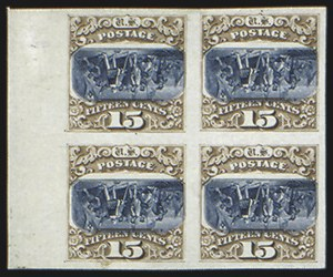 Sale Number 816, Lot Number 1581, 1869 Pictorial Issue Inverts - Plate Proofs on Card15c Brown & Blue, Ty. III, Center Inverted, Plate Proof on Card (129aP4), 15c Brown & Blue, Ty. III, Center Inverted, Plate Proof on Card (129aP4)