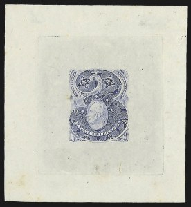 Sale Number 816, Lot Number 1592, 1c-6c Continental Bank Note Co. Issue Unadopted Essays3c Ultramarine, Large Die Essay on Proof Paper (147-E1), 3c Ultramarine, Large Die Essay on Proof Paper (147-E1)