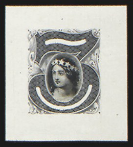 Sale Number 816, Lot Number 1597, 1c-6c Continental Bank Note Co. Issue Unadopted Essays3c Black, Columbia Portrait, Large Die Essay on India (147-E1B), 3c Black, Columbia Portrait, Large Die Essay on India (147-E1B)