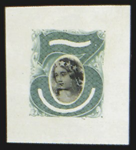 Sale Number 816, Lot Number 1598, 1c-6c Continental Bank Note Co. Issue Unadopted Essays3c Green, Columbia Portrait, Large Die Essay on India (147-E1B), 3c Green, Columbia Portrait, Large Die Essay on India (147-E1B)