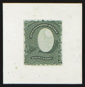 Sale Number 816, Lot Number 1599, 1c-6c Continental Bank Note Co. Issue Unadopted Essays3c Green, Frame Only, Large Die Essay on India, Labels Engraved (147-E5), 3c Green, Frame Only, Large Die Essay on India, Labels Engraved (147-E5)