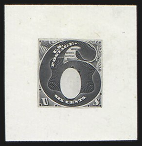 Sale Number 816, Lot Number 1601, 1c-6c Continental Bank Note Co. Issue Unadopted Essays6c Black, Frame Only, Hybrid Large Die Essay on India (148-E1a), 6c Black, Frame Only, Hybrid Large Die Essay on India (148-E1a)