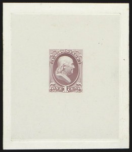 Sale Number 816, Lot Number 1607, 1c National Bank Note Co. Issue Essays1c Franklin, Large Die Essay on India (145-E6a), 1c Franklin, Large Die Essay on India (145-E6a)