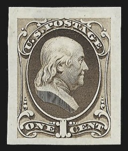 Sale Number 816, Lot Number 1608, 1c National Bank Note Co. Issue Essays1c Franklin, Large Die Essay on India (145-E6a), 1c Franklin, Large Die Essay on India (145-E6a)