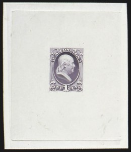 Sale Number 816, Lot Number 1609, 1c National Bank Note Co. Issue Essays1c Franklin, Large Die Essay on India (145-E8a), 1c Franklin, Large Die Essay on India (145-E8a)